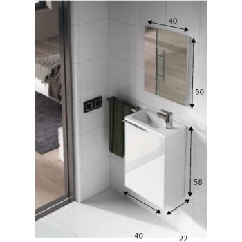 Badzusammensetzung 40 cm Farbe natur mit aufgehängt badmöbel, spiegel und waschtisch