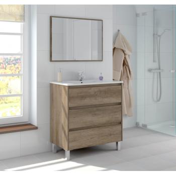 Badzusammensetzung 80 cm mit Nordik badmöbel, spiegel und waschtisch