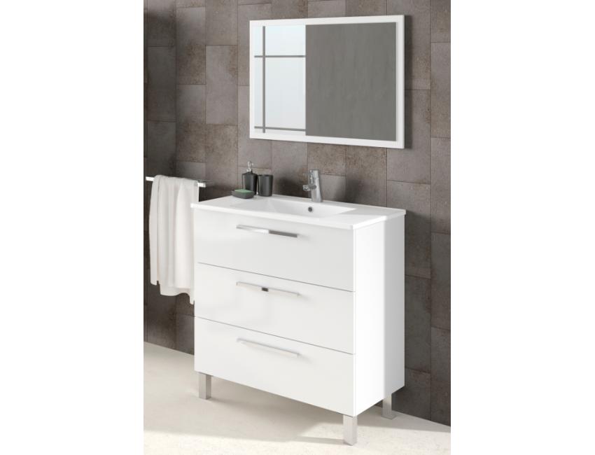 Badezimmerschrank auf dem boden 80 cm Glänzend weiß mit spiegel
