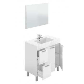 Badezimmerschrank 3 Schubladen auf dem boden 80 cm Glänzend weiß mit spiegel