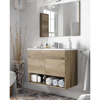 Badzusammensetzung Dakota 80 cm mit Nordik badmöbel, spiegel und waschtisch