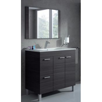 Badezimmerschrank auf dem boden Aktivia 80 cm Glänzend weiß mit spiegel