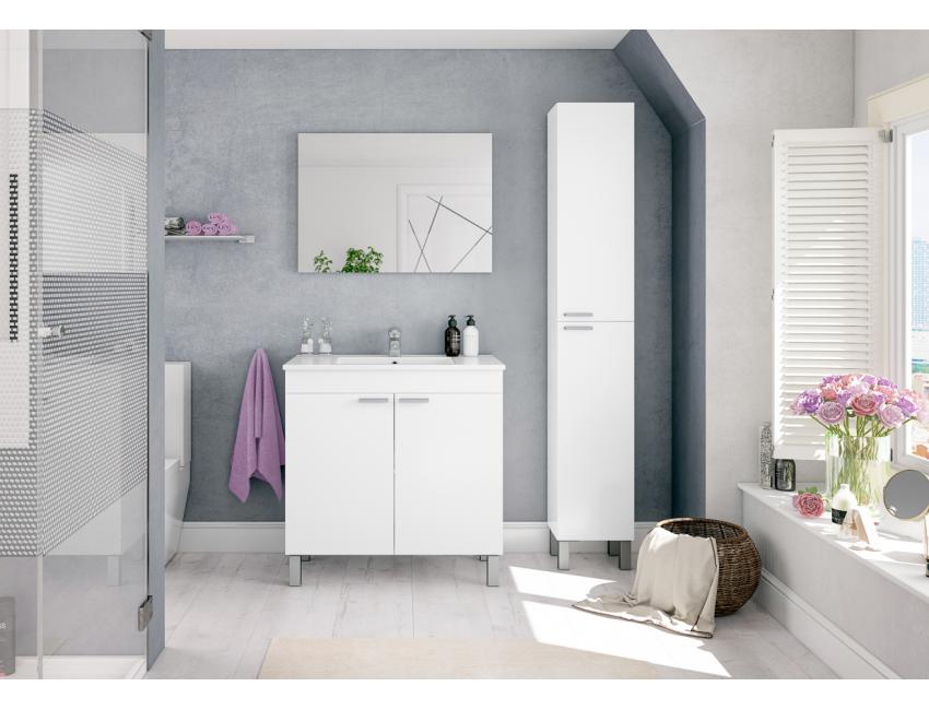 Badezimmerschrank auf dem boden 80 cm Nussbaum mit spiegel