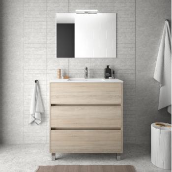 Badezimmer Badmöbel 60 cm in mattgrauem Holz mit Waschbecken Arenys