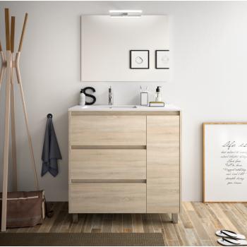 Badezimmer Badmöbel 80 cm in mattgrauem Holz mit porzellan Waschtisch