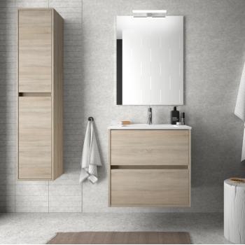 Badezimmer Badmöbel 60 cm glänzend weiß mit Porzellan Waschtisch