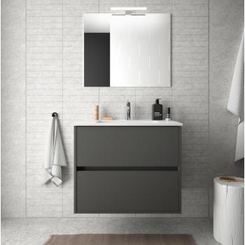 Badezimmer Badmöbel 60 cm aus Akazienbrauner Holz mit Porzellan Waschtisch