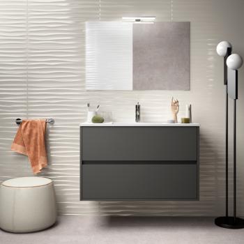 Badezimmer Badmöbel 80 cm aus braunem Holz Caledonia mit Porzellan Waschtisch