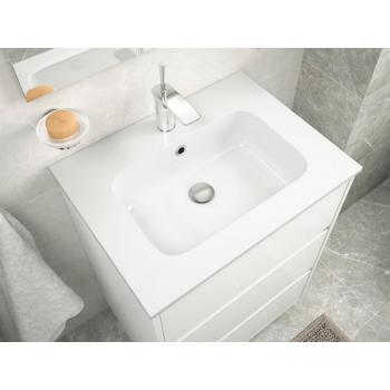 Badezimmer Badmöbel 90 cm aus glänzend weiß lackiertem Holz mit Porzellan Waschtisch