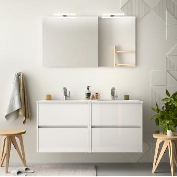 Badezimmer Badmöbel 100 cm aus braunem Holz Caledonia mit Porzellan Waschtisch
