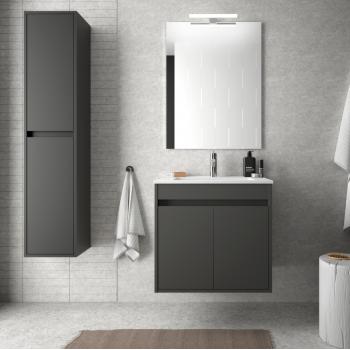 Badezimmer Badmöbel 60 cm aus glänzend weiß lackiertem Holz mit Porzellan Waschtisch