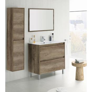 Badzusammensetzung 40 cm mit aufgehängt badmöbel anthrazitgrau lackiert, spiegel und waschtisch
