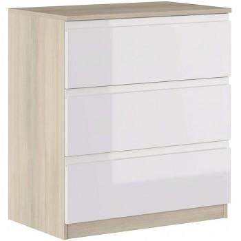 Kommode 87 cm Glänzend Weiß...